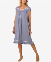 Eileen West Braid-Trimmed Striped Cotton Knit Waltz-Length Nightgown