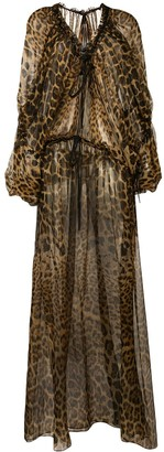 Saint Laurent Leopard-Print Maxi Dress