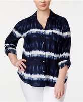 INC International Concepts Plus Size Tie-Dyed Roll-Tab Shirt, Created for Macy's