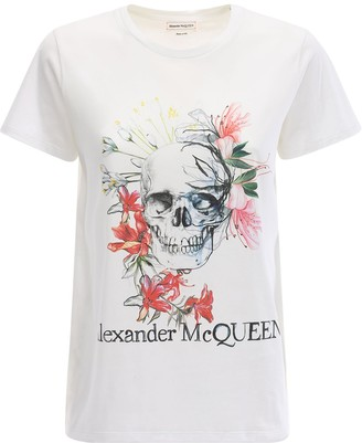 Alexander McQueen Over Skull Logo Cotton Jersey T-shirt