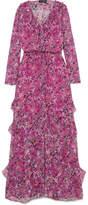 Saloni Izzie Ruffled Floral-print Silk-chiffon Maxi Dress - Pink