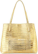 Nancy Gonzalez Large Metallic Crocodile Shoulder Tote Bag