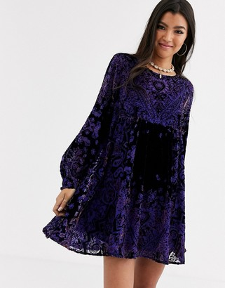 Free People Mirror Mirror velvet mini dress-Black