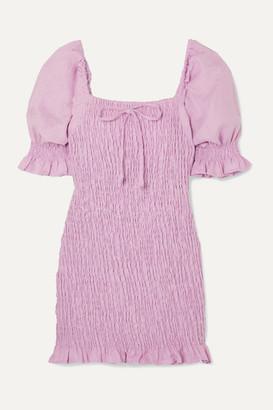 Faithfull The Brand Annibelis Shirred Linen Mini Dress - Lilac