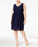 Trixxi Trendy Plus Size Lace-Up Textured Fit & Flare Dress
