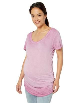 Motherhood Maternity Women's Maternity Short Sleeve Side Ruched Washed Tee Shirt
