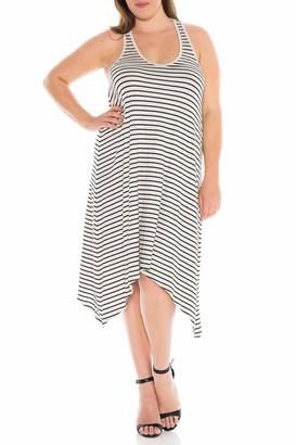SLINK Jeans Stripe Tank Dress in Heather Gray/Ivory Size 0