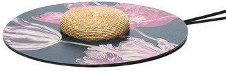 ELIURPI floral-print wood and straw wide-brim hat