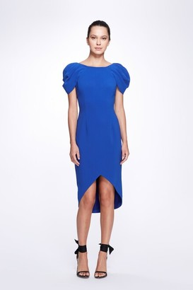 Marchesa Notte Draped Short Sleeve Stretch Crepe Cocktail Dress
