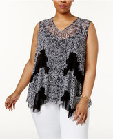 INC International Concepts Plus Size Lace-Print Layered Top, Created for Macy's