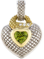 Judith Ripka Two-Tone Peridot & Diamond Heart Pendant