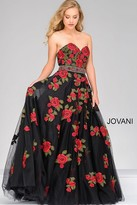 Jovani Sweetheart Neck Long Floral Prom Dress 45741