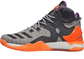 adidas Mens D Rose 7 Primeknit Boost Basketball Shoes Shock Purple/Glow Orange/Dark Grey Heather Solid Grey