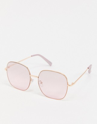 ASOS DESIGN oversized metal square sunglasses in rose gold with rose gold lens