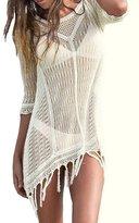 Kobwa(TM) Women Crochet Pierced Tassals Beachwear Cover Ups with Kobwa's Keyring