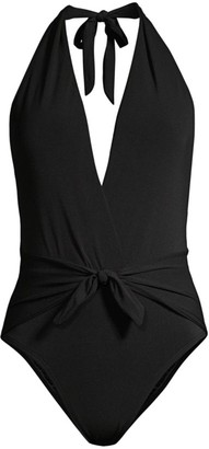 Robin Piccone Ava Plunging Tie-Waist One-Piece Swimsuit