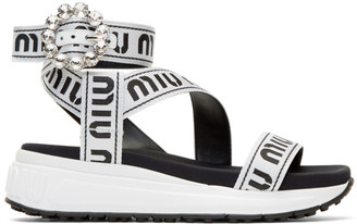 Miu Miu White and Black Crystal Buckle Sandals