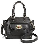 Women's Faux Leather Satchel Handbag with Turnlock Pocket- Merona