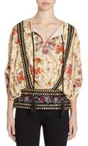 The Kooples Embroidered Grommet Floral-Print Top