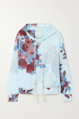 Yvonne S Floral-print Linen Hoodie - Sky blue