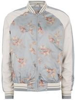 Topman Gray and White Butterfly Print Souvenir Bomber Jacket