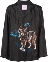 Palm Angels wolf print open collar shirt
