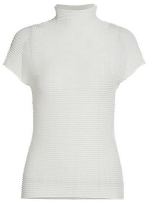 Issey Miyake Wooly Pleats Short-Sleeve Mockneck Top