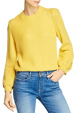 Frame Puff-Sleeve Crewneck Sweater