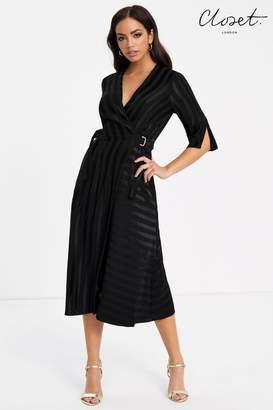 Closet Womens Wrap Dress With Short Sleeve - Black