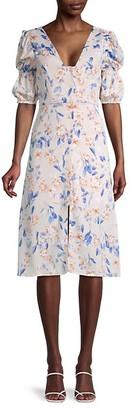 BCBGeneration Puff-Sleeve Floral Dress