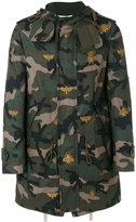 Valentino camouflage bee parka - men - Cotton/Calf Leather/Polyester/Metallic Fibre - 44