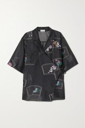 Ganni Floral-print Organza Wrap Shirt - Black