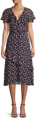 Joie Orita Floral Silk Ruffle Dress