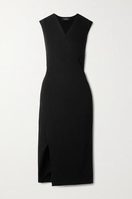 Theory Wrap-effect Ribbed Merino Wool Midi Dress - Black
