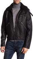 Members Only Faux Fur Trim Faux Leather Military Jacket