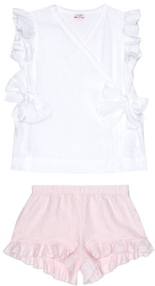 Il Gufo Linen shirt and shorts set