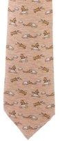 Hermes Raccoon Print Silk Tie