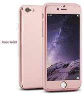 iPhone 6 Plus/6s Plus Full Body Hard Case-Aurora Black Front and Back Cover with Tempered Glass Screen Protector for iPhone 6 Plus/6s Plus 5.5 Inch (Rose Gold)
