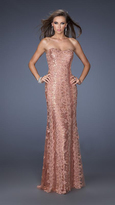 La Femme Sequin and Lace Overlay Strapless Evening Gown 19612