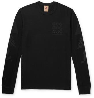 Nike Acg Nrg Logo-print Waffle-knit Sweatshirt - Black