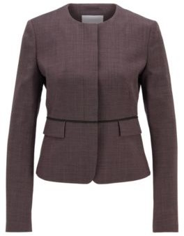 HUGO BOSS Micro Patterned Regular Fit Jacket With Waist Piping - Patterned