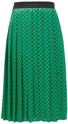 MSGM Polka-dot Pleated Midi Skirt - Green