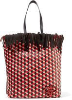Emilio Pucci Fringed woven leather tote