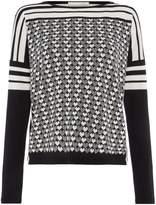 Oui Heart and stripe monochrome jumper