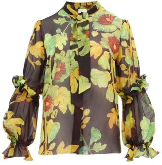 Peter Pilotto Floral-print Silk-georgette Blouse - Womens - Brown Multi