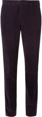 Paul Smith Teal Slim-Fit Cotton and Cashmere-Blend Corduroy Suit Trousers - Men - Purple