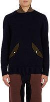 Sacai Men's Stockinette-Stitched Wool Sweater-NAVY