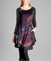 Aster Purple & Gray Floral Scoop Neck Tunic - Plus Too