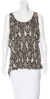 Torn By Ronny Kobo Snakeskin Print Cold Shoulder Top