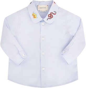 Gucci Light Blue Girl Shirt With Colorful Patch
